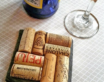 1 Slate Wine Cork Coaster - Wedding, Christmas, Birthday, Wine Giftbasket