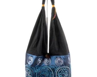 Vintage 90s Blue Metallic Asian Tribal Shoulder Bag Tote Purse M