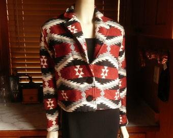 Vintage 80s 90s New Identity Southwestern Boho Cropped Blanket Jacket Red Black White PS NOS