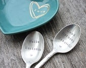 """Hand Stamped """"Good Morning Beautiful"""" and """"Hello Handsome"""" Vintage Tea Spoon Set"""