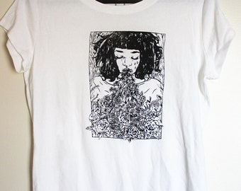 rosebarf // white screen printed ladies' shirt extra large