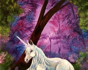 "Fantasy Art  - White Unicorn - Giclee Canvas Print - Purple Sky - ""Beauty"""