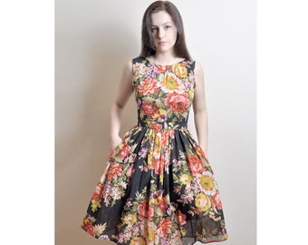 Floral Cotton Dress, Day Dress, 100% Cotton, Custom made, Midi Cotton Dress, 50's dress