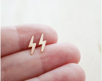 Gold Lightning Earrings - Graduation Gift - Gold Mother's Day Jewelry - Lightning Bolt Studs - Nature Studs - Tiny Studs