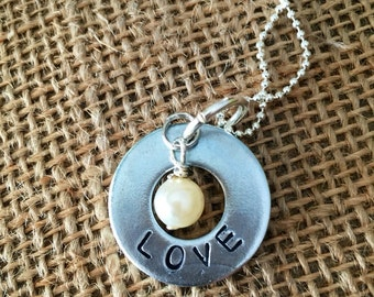 LOVE hand stamped washer necklace