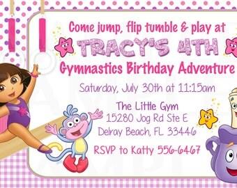 Dora the explorer Inspired Girls Gymnastics tumble theme Birthday Invitation - Printable File