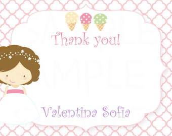 Girls Ice Cream & Cake Birthday Party Thank you card - Printable File