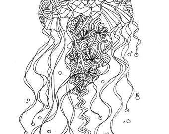 Jellyfish Colouring - Ocean Colouring Page - Instant Colouring Page - Jellyfish Drawing