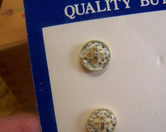 """Vintage 3/8"""" Clear with Silver Glitter Diminutive Buttons, Set of 6 (1804)"""