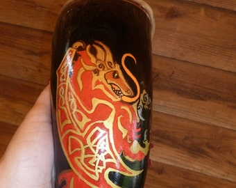 OOAK XL Red Dragon Viking Drinking Horn 28 ounces -- Witch Crafted