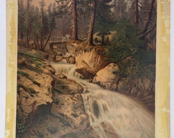 Antique print of woodland scene, Waterfall, Forest painting, Bridge and river, Pine trees, Cascade of water, Big landscape print