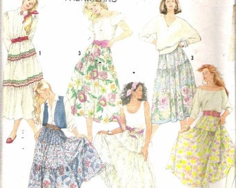 """Vintage 1990 Simplicity 9737 Misses Tiered Skirts & Petticoats Sewing Pattern Size H5 6 - 14 Waist 23"""" - 28"""""""