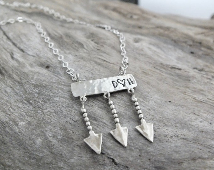 Custom Personalized Pendant /Arrow Necklace Silver /Arrow Necklace/Arrows /Long Necklace /Arrow Jewelry /Name Plate Necklace/Sterling Silver