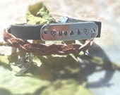 Personalized Leather Bracelet, Braided Leather Bracelet, Personalized Bracelet, Name Leather Bracelet, Hand Stamped Leather Bracelet