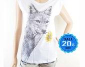 Dog Flower Shirt Dog T Shirt Animal Tshirt Dog Tee Women T shirt Women Tops Screen Print Size S