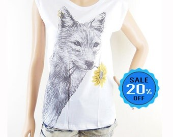 Fox Flower shirt fox tee graphic top women workout shirt instagram tshirt funny t shirt tumblr quote tee women top teen tshirt size S