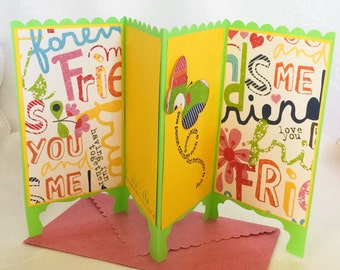 Hand made cards -Panel card - Room divider - Screen cards  - Accordion - butterfly - Friendship cards - Hand stamped - Wcards