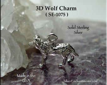 Sterling Silver Wolf Charm, .925 Wolf Totem Jewelry -  Wolf Necklace - SE-1075