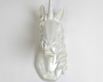 Unicorn Head Wall Mount - The Bayer in Iridescent Pearl -  Unicorn Wall Art by White Faux Taxidermy - Unicorn Decorations - Kids Room Decor