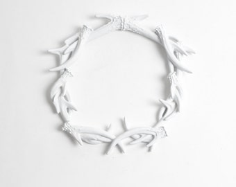 Faux Deer Antlers Wreath in White- Deer Antler Decor Wall Decor - Rustic Resin Decor by White Faux Taxidermy Antler Wreath Sculpture Hanging