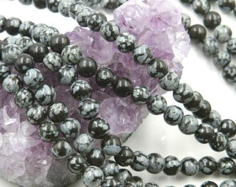 Lot of 5 strands 6mm Snow Flake Obsidian (N) Loose Spacer Beads Round 15 inch strand (BD5827)
