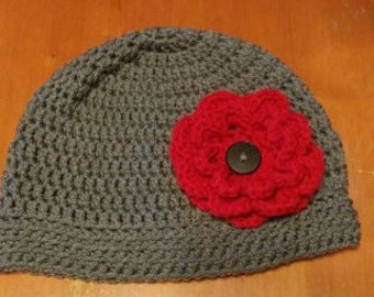 Crocheted Beanie with removable flower