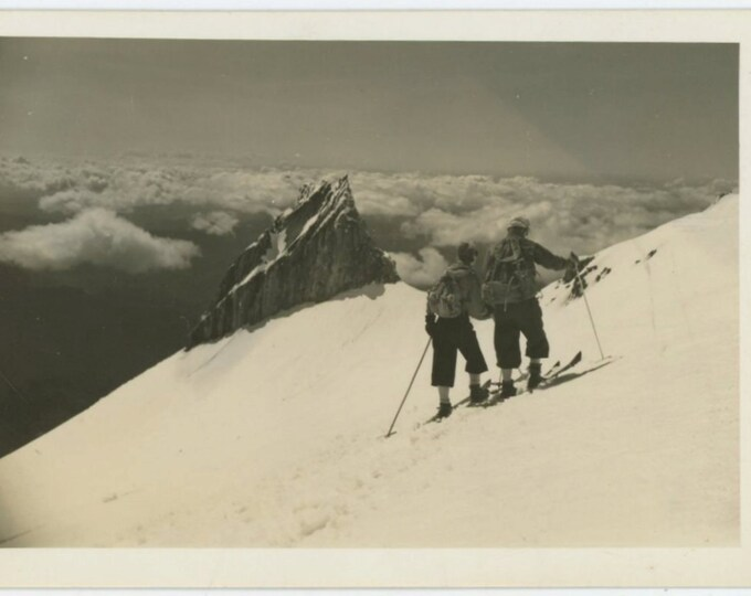 Skiers Traversing a Slope, c1930s Vintage Snapshot Photo (66473)