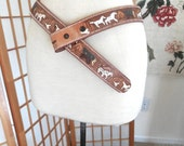 Vintage 60s Western Hand Tooled and Painted Leather Belt of Horses Wagons and Cow Skulls