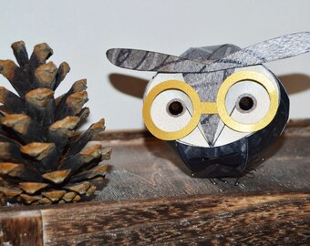 Grey Owl with glasses, groom wedding cake topper, owl sculpture