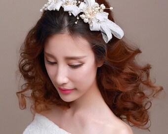 Bridal Headband, Hemp Fabric, Tulle Ribbon, Style #214