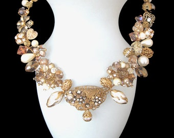 Golden Glitter! A stunning array of Swarovski Light Topaz Crystals and vintage Filigree components. FREE SHIPPING to US!