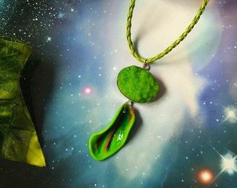 Green druzzy quartz fairy necklace