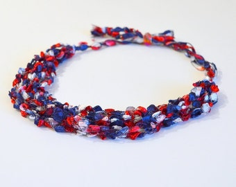 Red White & Blue Ladder Yarn Necklace - Crocheted Ribbon Necklace, Handmade Fiber Necklaces, Ready to Ship