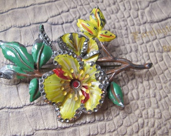 Uncas Signed 1930's Enamel, Marcasite & Pot Metal Floral Flower Spray Sprig Brooch Pin. Art Deco 30's Costume Collectible Fashion Jewelry