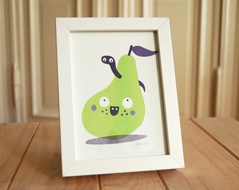 Friendly PEAR with worm - Riso Print, without frame, A5