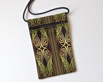 Pouch Zip Bag GREEN Fabric.  Great for walkers, markets, travel.  Cell Phone Pouch. Small fabric purse. Nuance design.