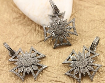 Pave Pendant, Pave Diamond, Pave Diamond Cross, Diamond Cross Charm, Diamond Cross, Oxidized Silver, Silver with Diamonds. (DCH/CR209/A)