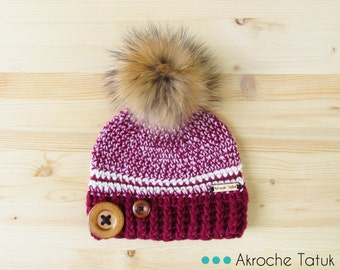 Rustik hat. Pink, berry and cream woman crochet winter hat with buttons and fur pompom by Akroche Tatuk (made to order)