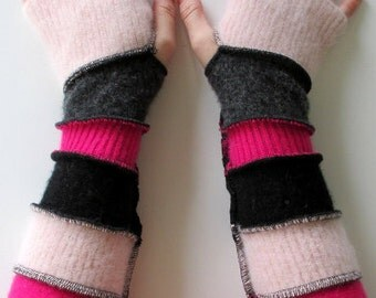 Long Fingerless Gloves - Gloves for Driving -  Gloves for Texting - Gifts Under 30 - Boho Clothing - Upcycled Clothing - Hippie Clothing