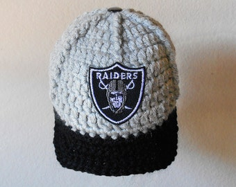 Raiders Baby Hat, Oakland Raiders Baby Hat, Sport Baby Hat, Team Baby Hats, Baby boy clothes, Baseball hat, Raiders baby hat, crochet hat