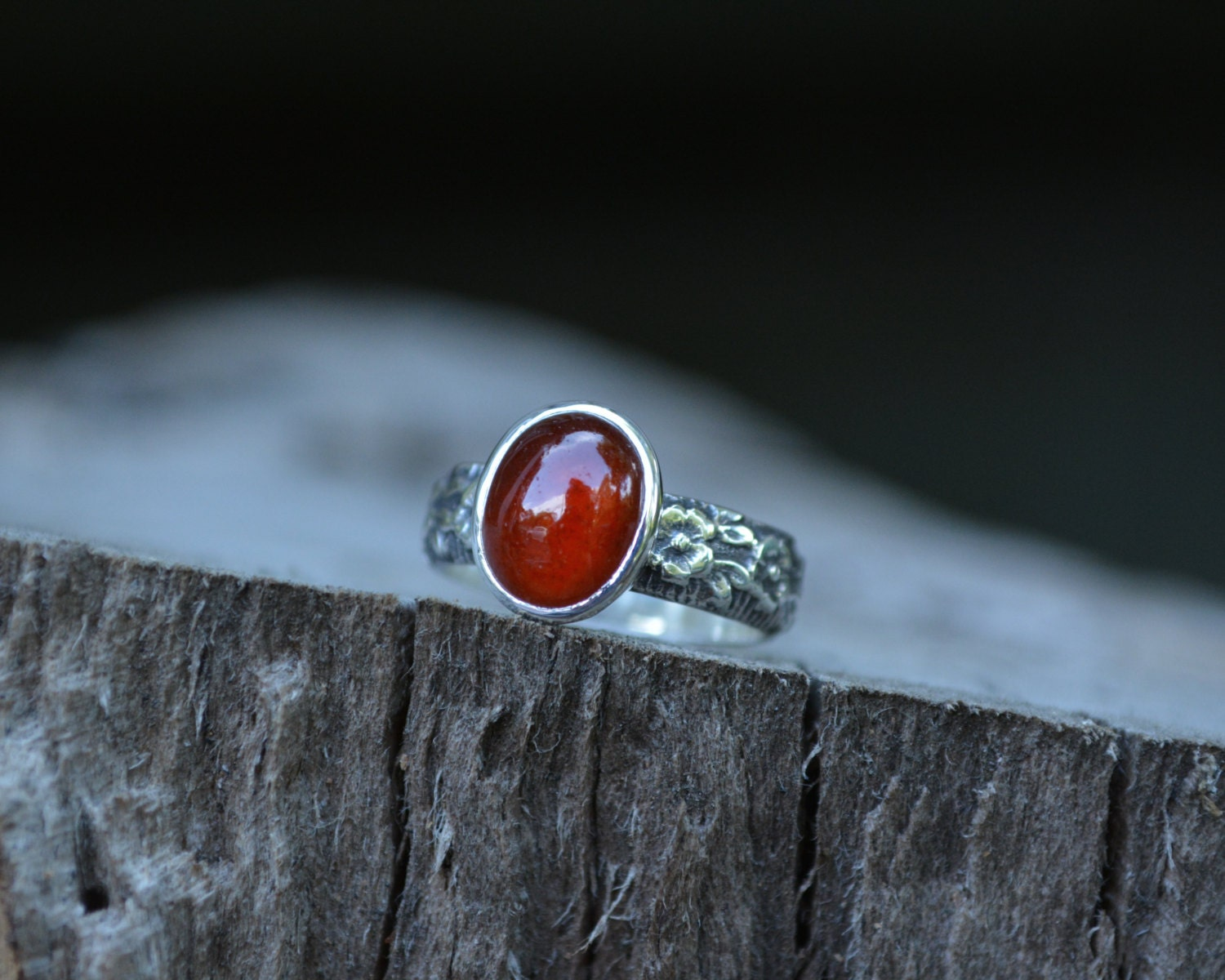 Hessonite Garnet Ring Garnet Ring Garnet by MeSheDesignsLLC
