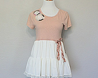 Shabby Sweet Women's Junior's Shirt - Babydoll Top - Upcycled Clothing - Refashioned Repurposed Recycled Clothes - Beaded - Small Medium