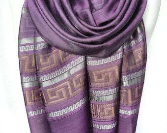 Purple Scarf. Metallic Scarf. Sparkling Shawl. Viscose Shawl. Greek Lines Scarf. Birthday Gift. Woman Scarf. 20x70in (50x180cm) Ready2Ship.