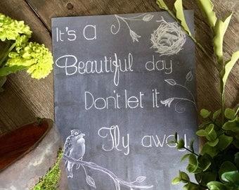 8x10 Beautiful Day Chalkboard Digital Download - Chalkboard Wall Art - Bird Art Print - Spring Decor