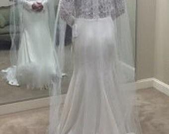 "Wedding Veil Floor Chapel White Ivory Diamond White Beige Pink Black Red Single Tier 72"" Width 84 Length Cut Edge"