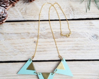 Triangle Necklace -Geometric Necklace -Triangle Jewellery -Geometric Jewellery- Laser Cut Wood Brass Jewellery Gifts for Her - Aqua Blue