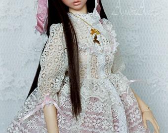 White Loli OOAK handmade dress set for bjd dollfie sd sd13 nuevo size clothing clothes lolita loli asian style