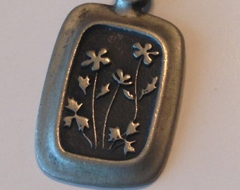 Vintage Abstract Swedish Pewter Necklace ~ SWEDEN ~ Floral ~ Rune Tennesmed ~ NICE