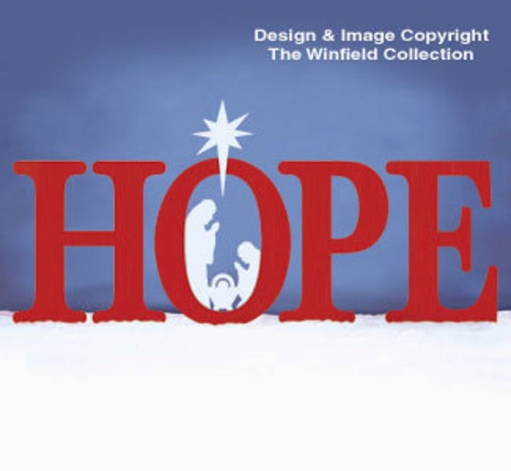 Hope sign with nativity scene large wood by chartinisyardart for Large outdoor christmas signs