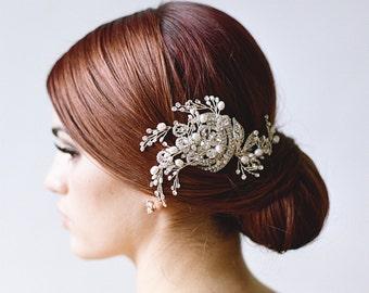 Bridal Comb, Swarovski Crystal Hair Comb, Pearl Headpiece, Wedding Headpiece, Swarovski Veil MARSEILLE Freshwater Pearl Bridal Comb